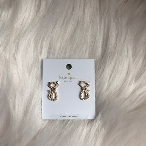 Kate Spade Jazz Things Up pave cat earrings